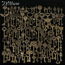 Buy KiWarm 130pcs Antique Vintage old look Bronze Ornate Skeleton Keys Lot Necklace Pendant Fancy Heart Decor DIY Craft Gifts for $12.58 in AliExpress store