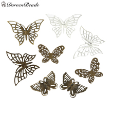 DoreenBeads Iron Based Alloy Filigree Stamping Embellishments Findings Fixed Butterfly Mixed Hollow 61 x47mm - 43 x28mm, 40 PCs(China)