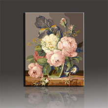 White Pink Flower Digital Elegant Canvas Oil Painting By Numbers Wall Art Picture Home Decoration Acrylic Paint Modern Artistic(China)