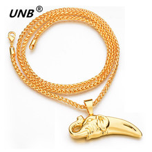 UNB 2017 Fashion Men Hip Hop Necklaces Gold-color Personality Anime Elephant Ivory Pendant Long Necklace Men's Creative Gifts(China)