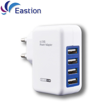 Eastion USB Smart Charger 4 Ports EU Plug Multiple Wall Adapter Mobile Phone Device 5V 3A Charge Fast Charging for iPhone iPad