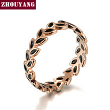 ZHOUYANG Top Quality ZYR183 Oliver Leaf Ring Rose Gold Color Austrian Crystals Full Sizes Wholesale(China)