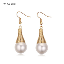 ZH.KH.ONG Long section Pearl dangle earrings women fashion water droplets simulated pearl pendientes earring jewelry E278 - ZH KH ONG Store store