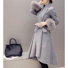 Elegante Slim mujeres invierno lana mezcla otoño lana larga chaqueta de piel  desmontable más tamaño ropa de abrigo 0dc5ee78f203