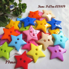 100pcs 19mm Mixed color 5-pointed star scrapbooking buttons 2 holes plastic sewing craft decorative accessories wholesale
