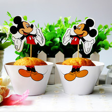 mickey mouse 24pcs Cupcake 12pcs Wrapper +12pcsToppers happy birthday party Supplies  Dessert shop cake decoration
