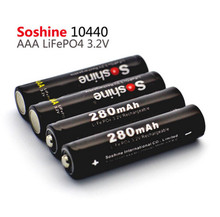 4 pieces/lot Soshine 10440 battery 3.2V 280mAh LiFePO4 cell Rechargeable AAA Battery with 2X Battery Connectors + Battery Box