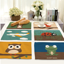 Owl Printed Table Napkins Serviette Table Mariage Home Dinner Linen Table Mat Pad Cloth Napkins Wholesale Price Factory