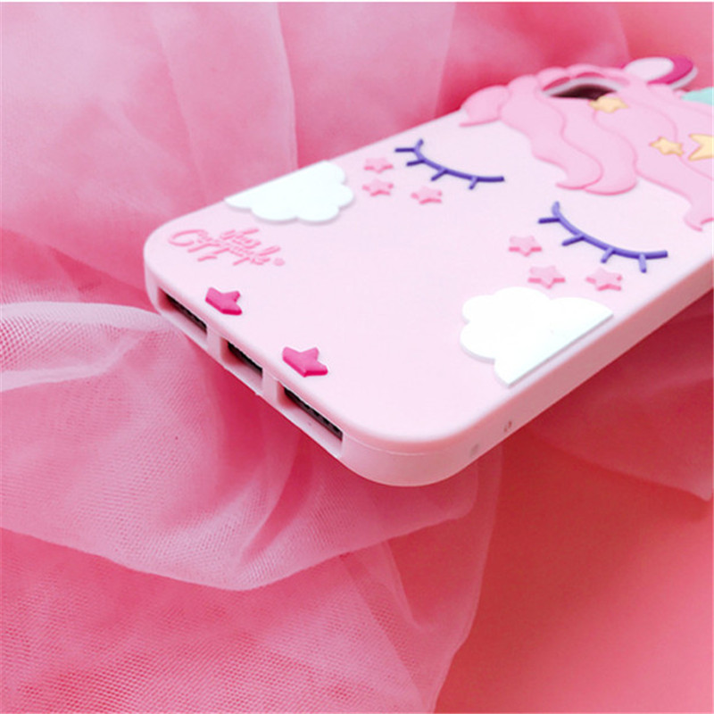 3D Cartoon Soft Silicone Phone Case For iPhone 5 S SE 6 6S 7 8 Plus X XR XS Max Case for iphone 7 Pink Unicorn Animal Back Cover (5)