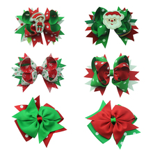 Christmas festival Boutique Alligator Clip Grosgrain Ribbon Headbands Hair Bows Clips Best new year Gift High Quality products(China)