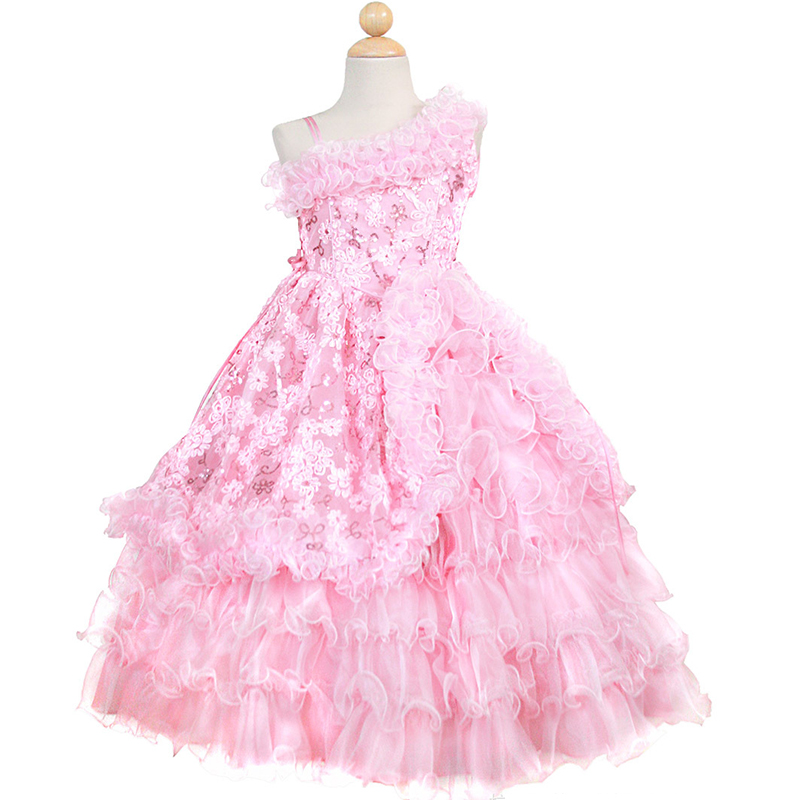 Luxury baby girls pageant dress for party costume A-line floor length one-shoulder sequins appliques flower girl dresses<br><br>Aliexpress