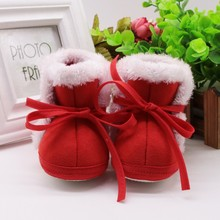 New Children 2017 Winter Trendy Newborn Baby Girls Cute Laceup Infant Toddler Crib Soft Soled Snow Kids 1 Pair Warm Shoes j2(China)