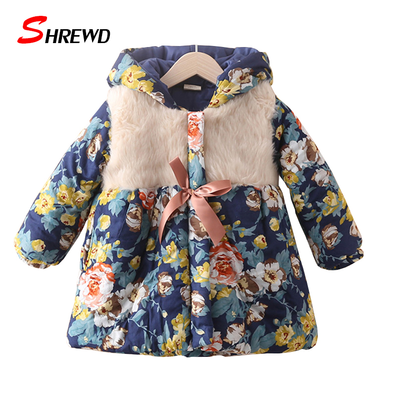 Winter Coats Jackets New 2017 Fashion Flower Printing Thick Kids Jackets Coat Hooded Long Sleeve Kids Clothes Girls 4460ZОдежда и ак�е��уары<br><br><br>Aliexpress