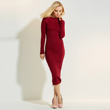 Buy Young17 Autumn Dress Women 2017 Work Red Long Sleeve Bodycon Round Neck Knitted Mid-Calf Sexy Dress Women Bodycon Dress for $14.52 in AliExpress store