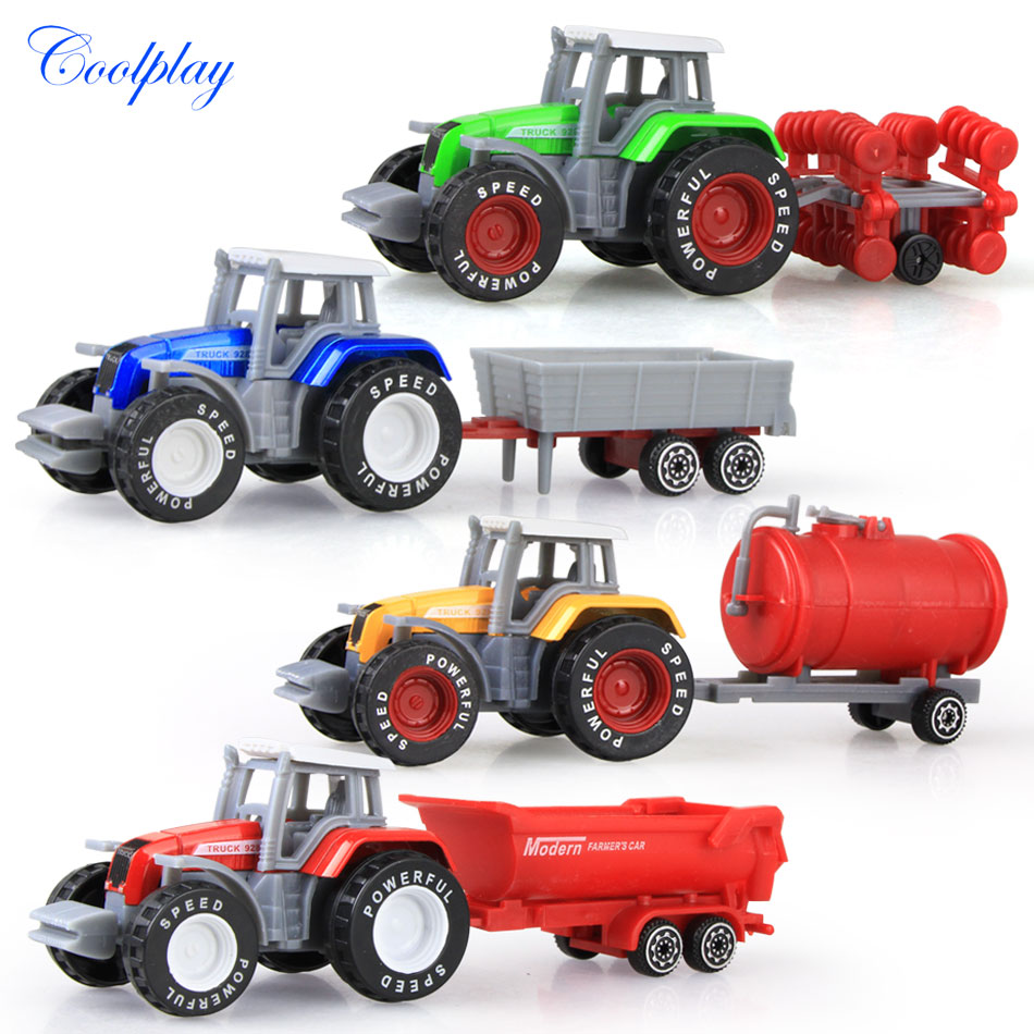 Coolplay 4pcs/set Alloy engineering car tractor toy model farm vehicle belt boy toy car model children's Day Xmas gifts N06(China)