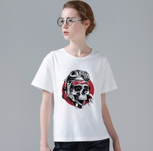 Hot Sale New Women T Shirt Funny Cool Skull Design Tee Shirt Customized Women/Men 3D Printed White Tops T-shirt W699(China)