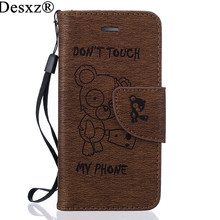 Desxz Luxury PU Leather print bear Case For iPhone 5G SE Wallet Cover Flip Coque With Card Holders Bag Cases For iphone5g se(China)