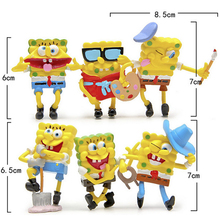 6Pcs/set Spongebob Figure Toys Cosplay PVC Action Figures Anime Figurines Collectible Doll Toys for Children Gift  Decoration