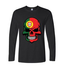 2017 Natural Cotton Portuguese Flag Skull funny Long TShirts Long Sleeve T Shirt