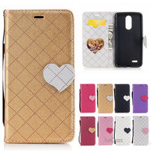 Cute Love Heart PU Leather Case For LG K8 2017 Hit Color Couro Phone bag For LG K8 2017 X300 M200N Etui Caso Del Tiron Capinhas(China)