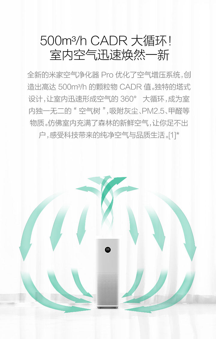 Xiaomi Original Air Purifier Pro Intelligent OLED Screen Wireless SmartPhone APP Control Household Appliances CADR 500m3h 60m3 (1)