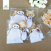 DIY 100pcs/lot Baymax Pattern Baking Cookies Cake Candy Food Bags Merry Christmas PP Bag Self-adhesive Flat Pouches 3size Option
