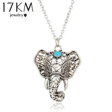 17KM Hot Vintage Elephant Pendant Necklace Boho Antique Blue Stone Choker Necklace Bohemia Bijoux Collares Bar Necklace(China)