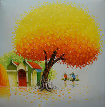 100%Hand Painted Modern Palette Knife Yellow Tree Oil Painting on Canvas Vietnam Landscape Painting Wall Picture for Living Room