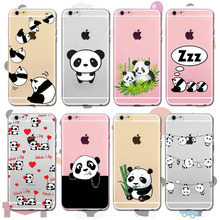 Transparent Silicone Phone Case For iPhone  6 6S 7 SE 5 5S 6Plus 7Plus 4 4S Soft Back Case Cover Cute Animal Panda case