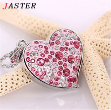 JASTER 100% Full Capacity !Diamond crystal heart USB Flash drive Memory Stick 4GB/8GB/16GB/32GB Love heart  Necklace usb stick