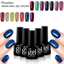 Verntion Bling Bling Uv Primer Cheap Neon Color Gel Paint Nail Polish Varnish Manicure UV Soak Off 8ml Polish Gel Nail Art(China)