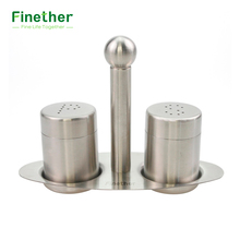 Finether 304 Stainless Steel Salt Pepper Shaker Set Odor-free Spice Cruet with Stand Condiment Box Cooking Seasoning Bottle Tool(China)