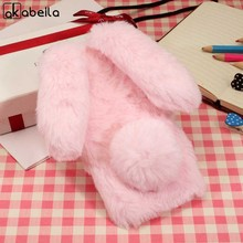 AKABEILA Fluffy Rabbit Fur Cases For Apple iPhone X iPhone 10 iPhone Ten Phone Cover Back Fashion Bling Diamond Back(China)