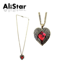 Fashion Heart Semi-precious Stone Vintage Pendant Necklaces Women Design Angle Wing old-fashion Rhinestone Jewerly #NL012