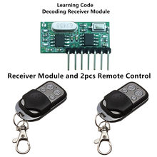 2pcs 433 Mhz Remote Control and 1pcs 433Mhz Wireless Receiver Learning Code 1527 Decoding Module 4Ch output With Learning Button(China)