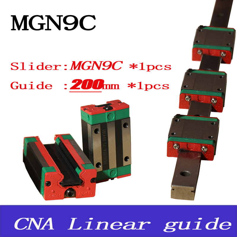 9mm Linear Guide MGN9 L= 200mm linear rail way + MGN9C Long linear carriage for CNC X Y Z Axis Free shipping<br><br>Aliexpress