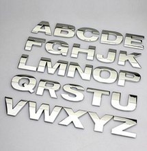 4pcs DIY on car-styling 3D metal sticker car accessories SILVER alphabet letters decal spell for BENZ AUDI MINI FORD OPEL FIAT(China)