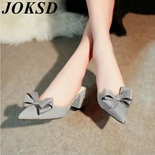 2017 new hot sell sandals summer flip flop fashion bowknot pointed head ladies suede women mid heel sandals  xy261