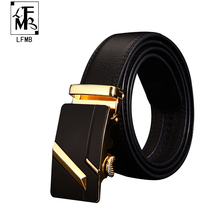 [LFMB] 2016 Mens Luxury Brand Belt Automatic Buckle Genuine Leather Belts Men Accessories Casual Waist Belt New(China)