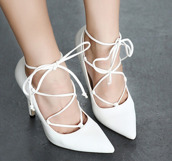 low heel shoes sexy pumps Shoes Woman Pointed Toe High Heels white Wedding Shoes Women party shoes for women lace up heels<br><br>Aliexpress