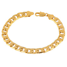Wholesale Men's 24K Yellow Gold-color Posh Curb Chain Bracelet 8.2 Inches , C0465 Free Shipping(China)