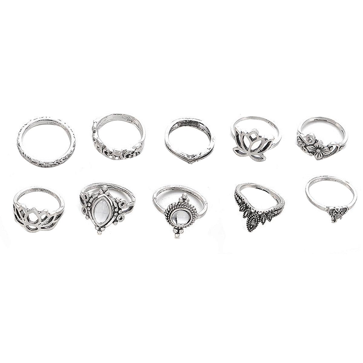 Various 10pcs/Set Vintage Bohemian Ring Set (Less than 1$ each)