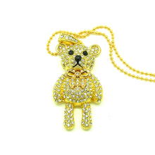 Fashion Diamond crystal bear USB Flash drive Necklace pen drive memory stick u Disk pendrive 4gb 8gb 16gb 32gb gift(China)