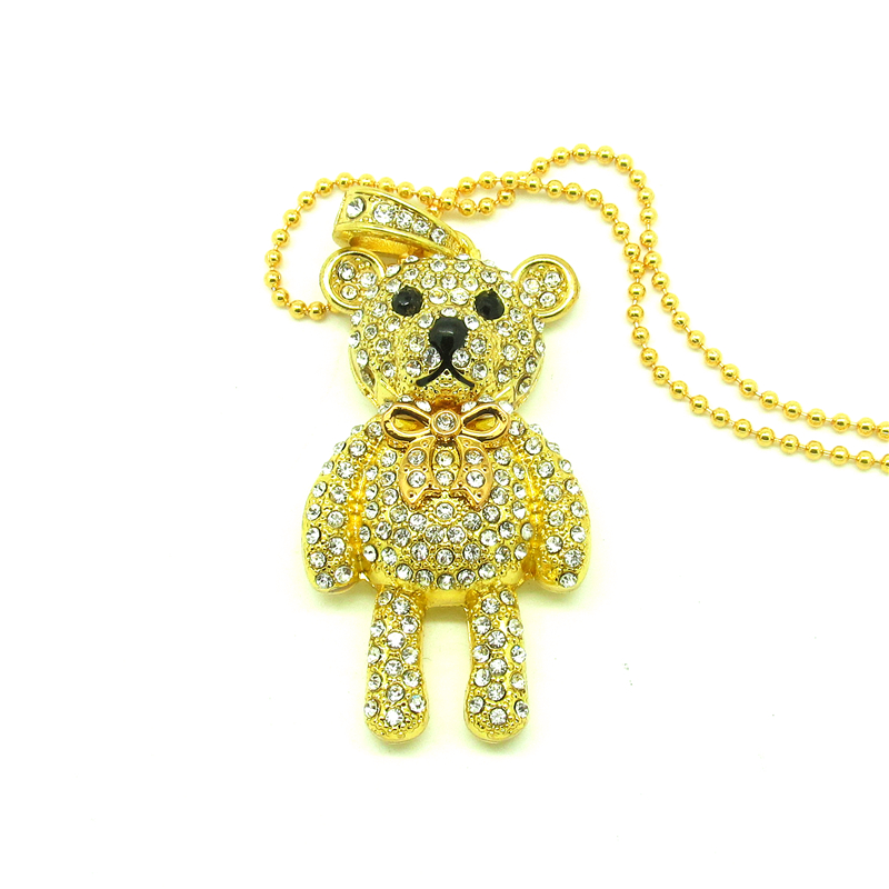 Fashion Diamond crystal bear USB Flash drive Necklace pen drive memory stick u Disk pendrive 4gb 8gb 16gb 32gb gift(China (Mainland))