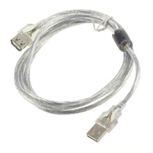 New 1.2m USB 2.0 Male to Female Extension Cable Transparent Free Shipping(China)