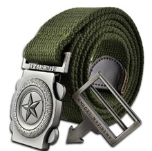 2017 fashion brand men casual canvas belt luxury knitted mens Metal Buckle belt military designer belts for men army green 110cm