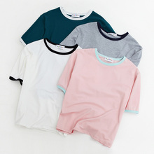 Women'S Harajuku Fashionable Casual All-Match Colorant Match Small Fresh T-Shirt Female Korean Kawaii Tops For Women