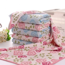 2016 New 34*76cm 5pcs Rose Flower Hand Towels Set Microfiber Fabric Home Decorative Cheap Quality Face Bathroom Hand Towels Set