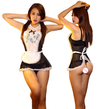 New Women Sexy Lingerie Hot Lace French Maid Hat+Lingerie+T-Pant+Collar+Hand Accessories Sexy Costume Erotic Lingerie 055(China)