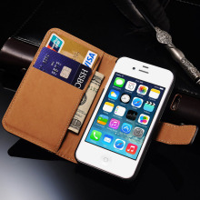 4S Flip Wallet Leather Cover Case for iPhone 4S 4 Luxury Stand Mobile Phone Bag for iphone 4 4S Case Cover Coque(China)